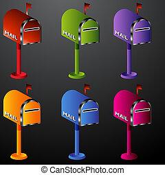 set, brievenbus, pictogram