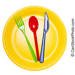 Set bright disposable dishes:  plate, spoon, fork and knife isolated.