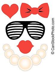 set, -, bril, accessoires, lippen, halssnoer, feestje