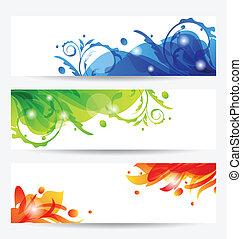Illustration set brochure templates with flower frames - vector