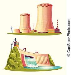 set, bronnen, energie, vector, alternatief, spotprent