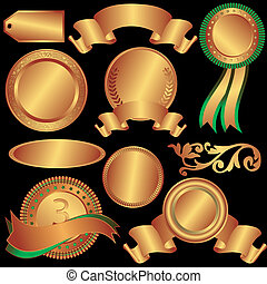 Set bronze medals and counters on a black background