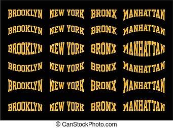 Set Brooklyn, New York, Bronx, Manhattan typography design,...