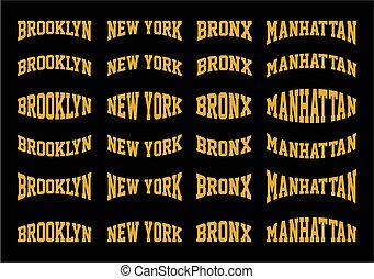 Set Brooklyn, New York, Bronx, Manhattan typography design