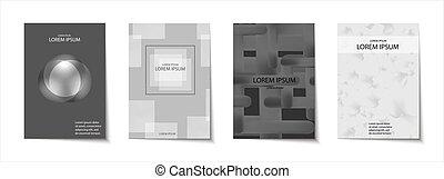 set, broshure, manifesto, scheda, moderno, forme, coperchio...