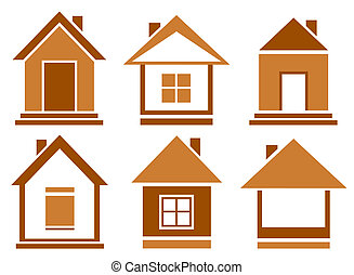 set brown isolated house