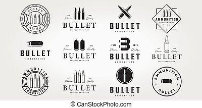 Set Bullet Logo Vintage Vector, Illustration Design of Letter B Bullet Ammunition Logotype Bundle