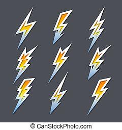 set, bulloni, icone, elettricità, zigzag, lampo, o