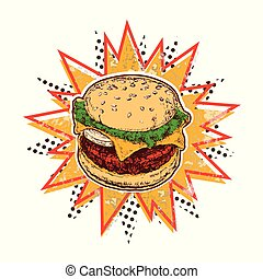 Set Burger Vector Illustration Pop Art Style