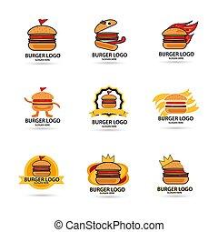 Set burgers vector logo, fast food. illustration