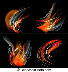 Set Burn flame fire vector abstract background with place for your text.