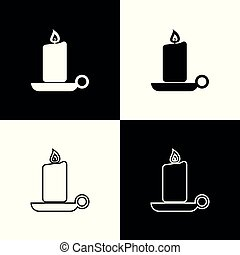 Set Burning candle in candlestick icon on black and white background. Old fashioned lit candle. Cylindrical aromatic candle stick with burning flame. Line, outline and linear icon. Vector Illustration