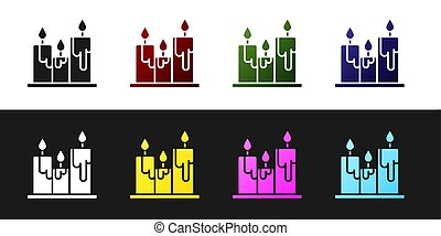 Set Burning candles icon isolated on black and white background. Cylindrical candle stick with burning flame. Vector Illustration