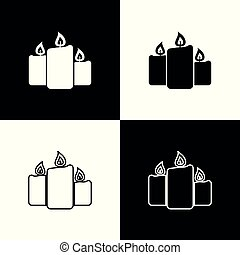 Set Burning candles icons isolated on black and white background. Old fashioned lit candles. Cylindrical aromatic candle sticks with burning flames. Line, outline and linear icon. Vector Illustration
