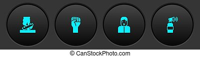 Set Burning car, Raised hand with clenched fist, Censor freedom of speech and Air horn icon. Vector