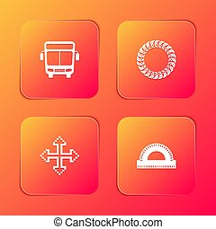 Set Bus, Laurel wreath, Pixel arrows in four directions and Protractor grid icon. Vector