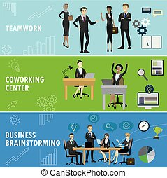 Set business banner. Teamwork, coworking and group brainstorming.