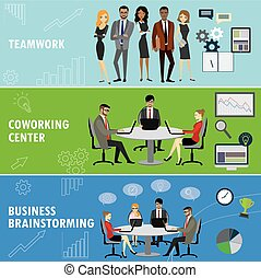 Set business banner. Teamwork, coworking and group brainstorming