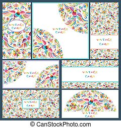 Set business cards with Floral Mexican pattern
