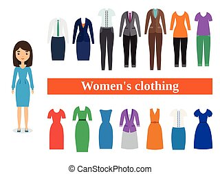 Set business clothes for women. Vector illustration.