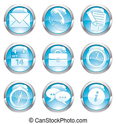 Set Business Gloss Button - Nine circle gloss icon for...
