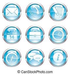 Nine circle gloss icon for internet, vector illustration