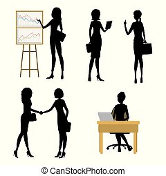 Set Business woman silhouettes