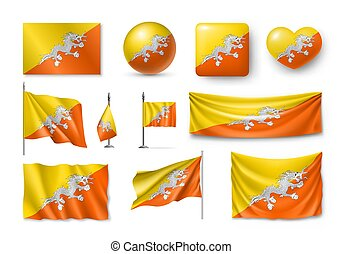 Set Butane flags, banners, banners, symbols, flat icon