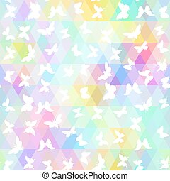 set butterflies, cicada with colored rhombus. Geometric background. Seamless pattern black rainbow green purple blue yellow background, colorful psychedelic geometric mosaic ornament triangle. Vector illustration