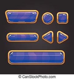 Set button in cartoon style
