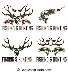 set, caccia, vendemmia, etichette, elementi, disegno, pesca