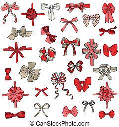 set, cadeau, -, buigingen, vector, ontwerp, plakboek, linten