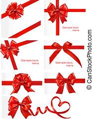 set, cadeau, groot, buigingen, vector., ribbons., rood