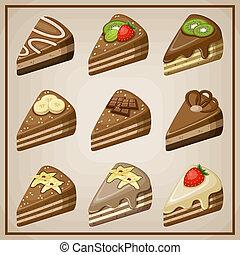 set, cakes.