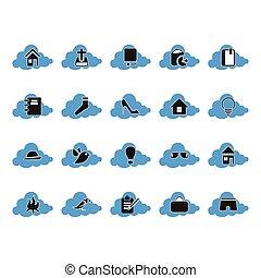 set, calcolare, nuvola, icona