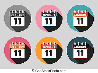 Set calendar icon vector