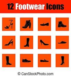 set, calzatura, icone