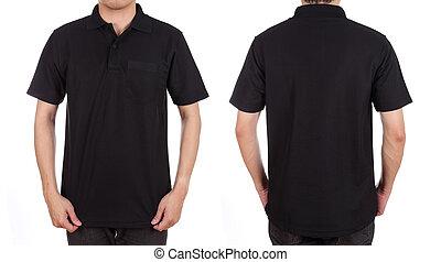 set, camicia, vuoto, (front, back), polo, uomo
