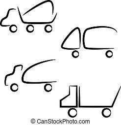 set., caminhões, ícones
