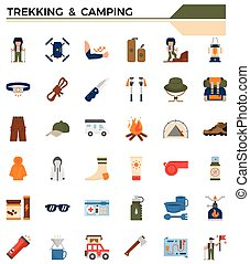 set., campeggio, trekking, icona