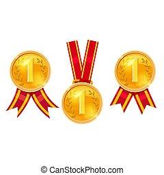 set, campione, isolato, premio, oro, vettore, medaglie, rosso, nastri