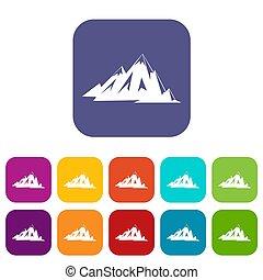 set, canadees, bergen, iconen, plat