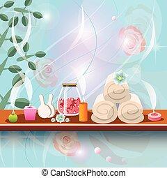 set, candele, trattamenti, aromatico, terme, sale