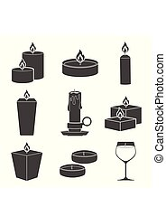 Set candles icons isolated on white background. Aromatherapy burning candles with aromatic plant and essential oils for spa. Elements for new year, christmas cards and romantic.