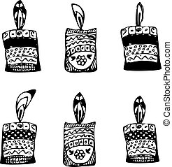 Set candles in style doodle. Sketch, drawing hand. Vector illustration on isolated background