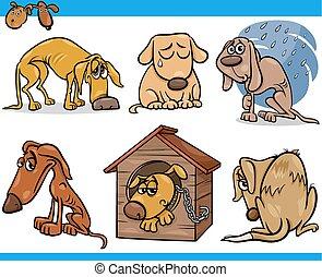set, cani, randagio, illustrazione, triste, cartone animato