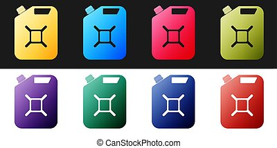 Set Canister for gasoline icon isolated on black and white background. Diesel gas icon. Vector
