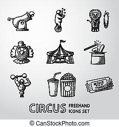 set, cannone, icone, biglietto, circo, -, strongman, pagliaccio, vettore, cappello, orso, freehand, popcorn., leone, mago, cola