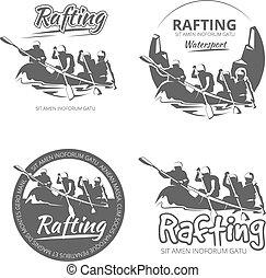 set, canoa, vendemmia, etichette, kayak, emblemi, vettore, trasportando zattera, tesserati magnetici