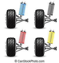 Set car suspension, frontal view. - Set car suspension,...